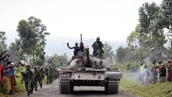 Soldaten der kongolesischen Armee auf dem Weg nach Rumangabo, rund 30 Kilometer von der Hauptstadt Goma entfernt. (Archivbild)