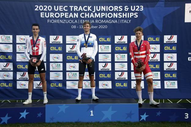 Fabio Christen durfte sich als Zweitplatzierter im Punktefahren über den Gewinn der Silbermedaille freuen.