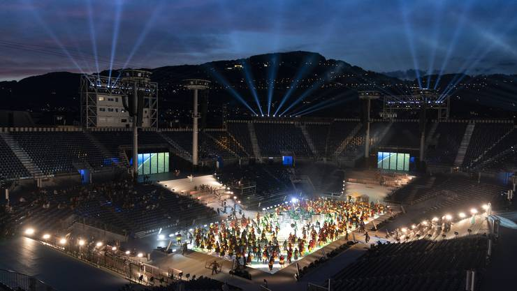 Noch wird geprobt in der Arena in Vevey, doch bald schon geht die Fête des Vignerons los.