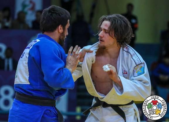 Der Brugger Judoka Ciril Grossklaus im Final am Grand Prix in Agadir gegen den Russen Khusen Khalmurzaev.
