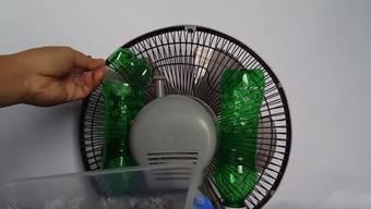 Eis sorgt bei dieser selbstgebastelten Klimaanlage für zusätzliche Abkühlung.