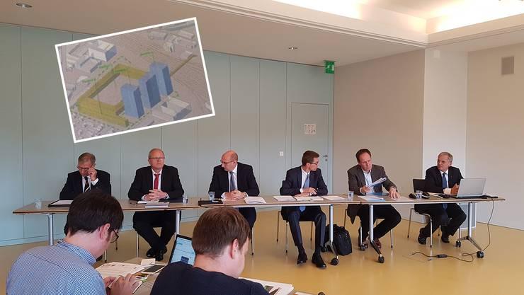 Stadt und Bauherrin informieren über das weitere Vorgehen zum Aarauer Stadion – nun steht ein Plan B im Vordergrund. (1. Mai 2017)
