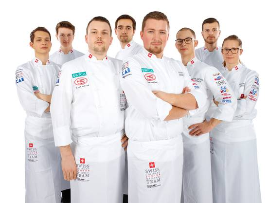 Norman Jubin, Dominik Roider, Steven Duss, Manuel Engel, Teamchef Norman Hunziker, Jean-Michel Wittmer, Daniel Straumann und Bettina Marti.