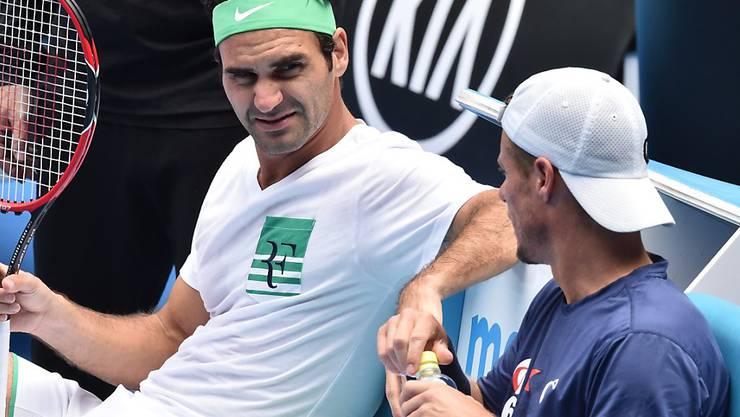 Federer trainierte am Freitag zum letzten Mal mit Weggefährte Lleyton Hewitt zusammen. Hewitt beendet nach dem Aussie Open die Karriere.