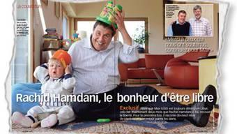 Rachid Hamdani, die ehemalige Geisel in Libyen, kann wieder lachen. Im Hause seines Sohens Karim spielt er mit seinem Enkel Joachim, der während Hamdanis Haft in Libyen zur Welt gekommen ist. (Ausriss: Illustré)