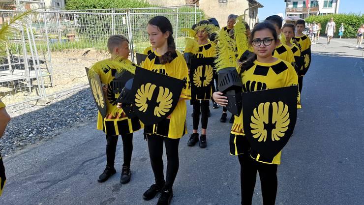 Jugendfest Boniswil Umzug am 29. Juni 2019 Helm ab für die Ritter der 5. Klasse