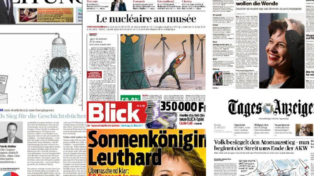 Ein Gesicht und viele Karikaturen: Titelseiten von Schweizer Zeitungen nach dem Ja zum Energiegesetz.