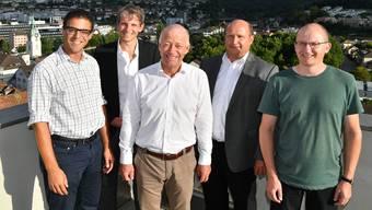 Von links Charlie Schmid, Ralph Kurmann, OK-Präsident Martin Wey, Vizepräsident Peter Hodel und Thomas Drachsel. Es fehlen Christoph Egger und Dieter Semling.