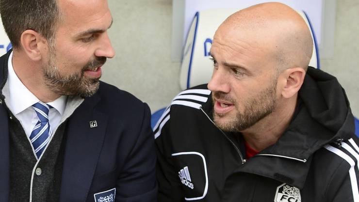 Roland Vrabec (rechts) im Gespräch mit Luzerns Cheftrainer Markus Babbel