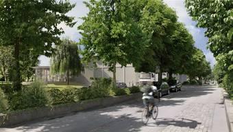So könnte die teilweise von Bäumen verdeckte Hinterbühne auf der Römerstrasse her kommend aussehen. zvg
