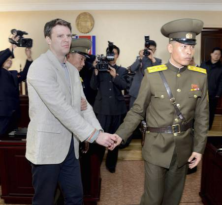 epa06026113 (FILE) - A file handout photo provided by the official Korean Central News Agency (KCNA)shows Otto Frederick Warmbier (L) in relation to his trial held by The Supreme Court of the Democratic People's Republic of Korea, in Pyongyang, North Korea, 16 March 2016(reissued 13 June 2017). According to media reports on 13 June 2017 citing US Secretary of State Rex Tillerson, North Korea has released Warmbier, who had been jailed for allegedly stealing a political sign from a hotel. EPA/KCNA/HANDOUT SOUTH KOREA OUT HANDOUT EDITORIAL USE ONLY/NO SALES