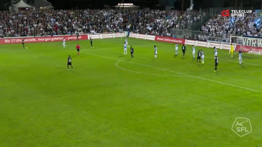 Challenge League, 2019/20, 3. Runde, FC Aarau – GC Zürich, 91. Minute: Schuss von Elsad Zverotic.