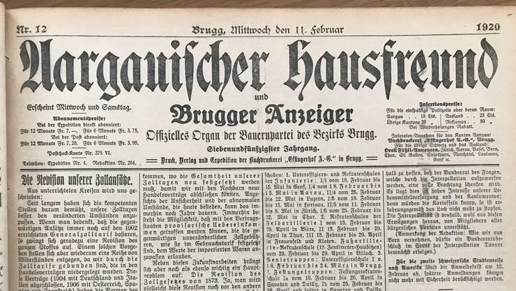 Der «Aargauische Hausfreund» vom 11. Februar 1920. Die Aargauer Regierung veröffentlichte ihre Verordnung zur Bekämpfung der «Influenza».