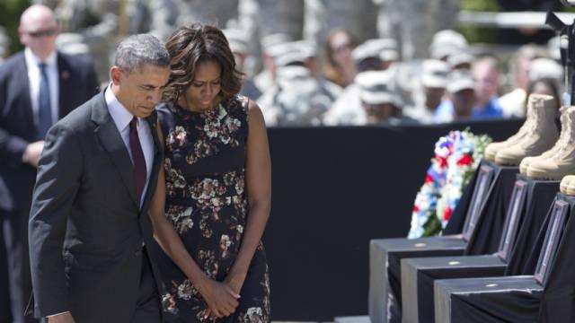 US-Präsident Barack Obama mit Frau Michelle in Fort Hood