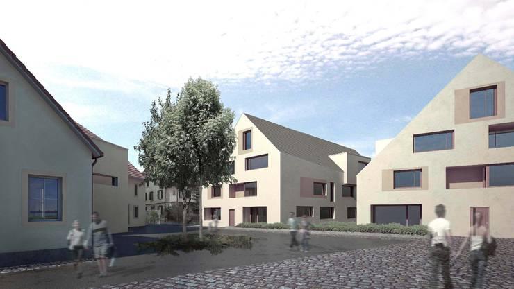 Stadtplatz: Hinter der Zehntenscheune sollen Wohnhäuser mit Eigentumswohnungen entstehen. (Visualisierung: Tilla Theus und Partner AG).