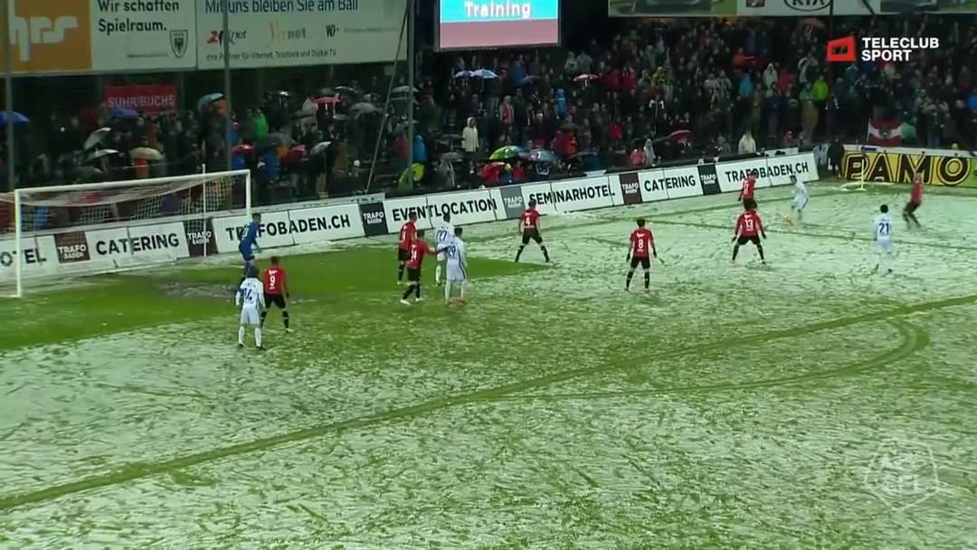Challenge League, 2018/19, 32. Runde, FC Aarau – FC Lausanne-Sport, 52. Minute: Schuss von João Oliveira.