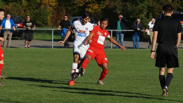 Duell im Mittelfeld: FCD-Captain Luca Senincanin (rotes Dress) versucht Hönggs Torschützen Pascal Forny zu stoppen.