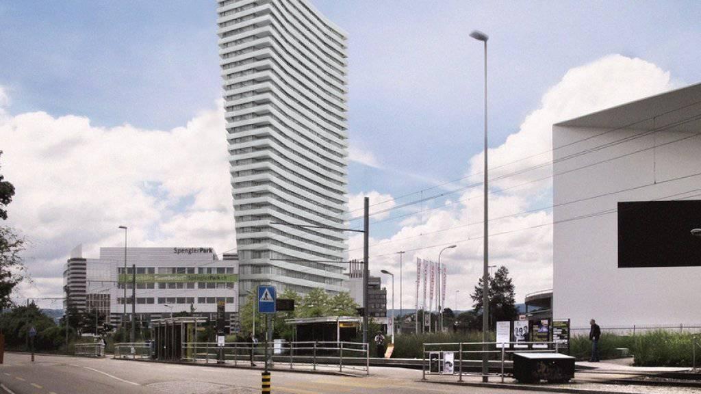 Das geplante Hochhaus in Münchenstein BL mit dem Schaulager im Vordergrund.