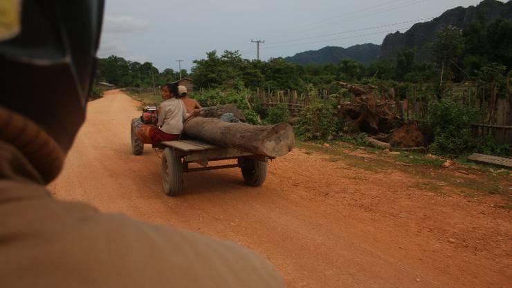 Ab und zu überholen wir einen Mini-Traktor ...
