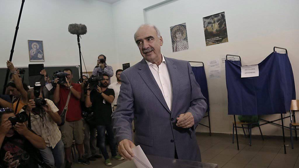 Muss zu einem zweiten Wahlgang antreten: Favorit für das Amt des Parteichefs Evangelos Meimarakis