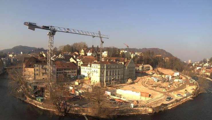 Blick auf die Baustelle vom Thermalbad Baden: 1. April 2019.