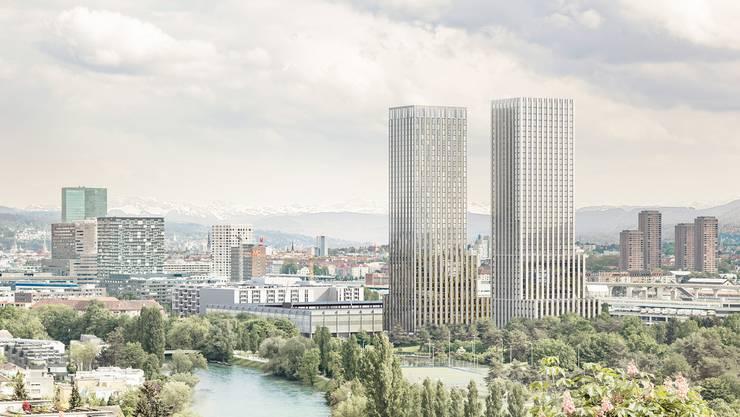 «Ensemble»: Das Siegerprojekt des Investorenwettbewerbs setzt zwei 137-Meter-Hochhäuser neben das geplante Stadion.