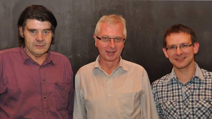 Sie standen an der Generalversammlung im Mittelpunkt (v.l.): Paul Riser (Eidgenössischer Veteran, 35 Jahre Blasmusik); Franz Wicki (neues Aktiv- und Vorstandsmitglied); Pascal Wüthrich (Ehrenmitglied, 20 Jahre Aktivmitglied).