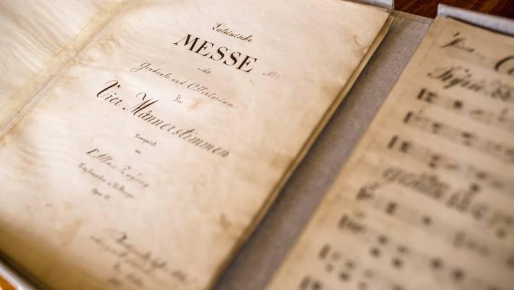 """Im Bild: Das Original der Schweizer Nationalhymne, des """"Schweizer Psalm"""", wird im Kloster Mehrerau aufbewahrt. Der Komponist Alberich Zwyssig war einst ein Mönch im Kloster Wettingen und floh nach Mehrerau."""