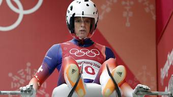 Martina Kocher am Start des Eiskanals in Pyeongchang