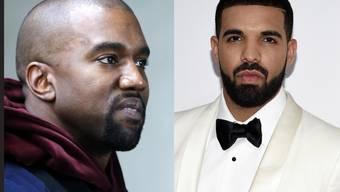 In aller Öffentlichkeit fetzen sich die beiden US-Rapper Kanye West (l) und Drake (r). Ihre groben Wortgefechte führen sie über Twitter.