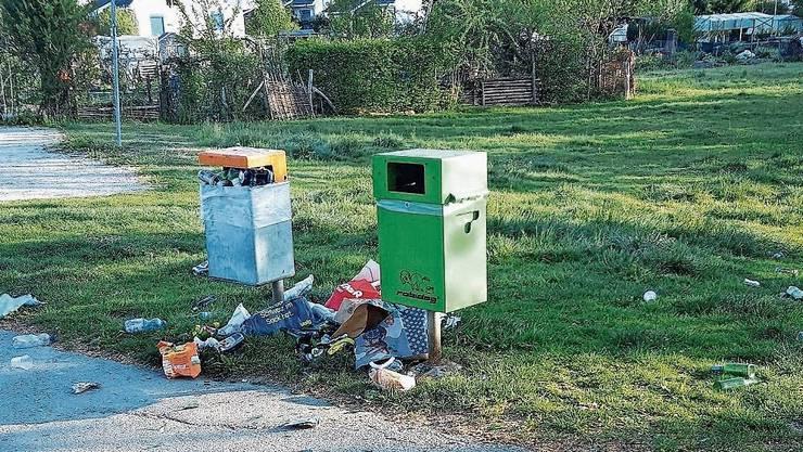 So kann sich die Situation präsentieren beim Abfallbehälter in Umiken.