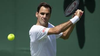Federer beim Training in Wimbledon.