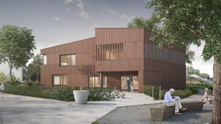 So soll dereinst das neue Kindergarten-Gebäude aussehen. (Visualisierung)