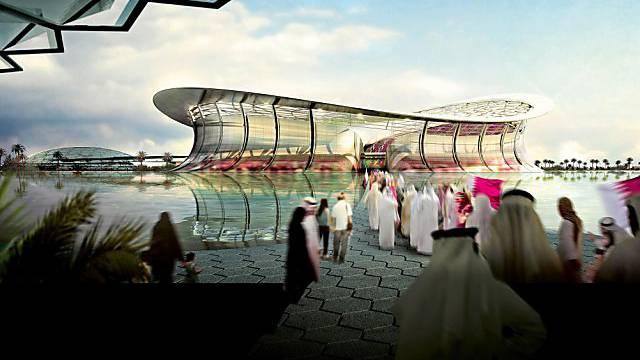 Planskizze eines futuristischen Stadions in Katar.