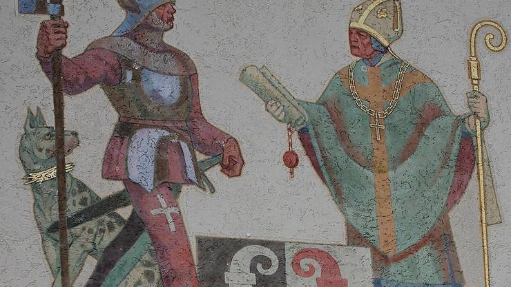 Das Basler-Tor zeigt, wie der Bischof den Laufnern das Stadtrecht verleiht. Das vom Liestaler Künstler Otto Plattner 1949 geschaffene Fresko ist auch ein Symbol für die Integration des Laufentals in die Region.Ken