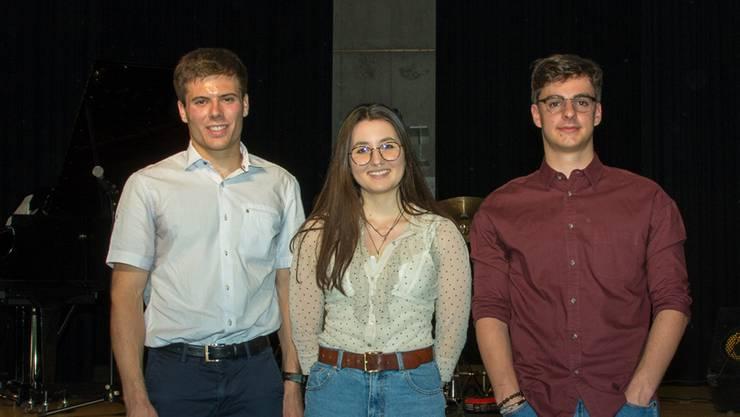 Diese Drei haben die beste Maturaarbeit geschrieben. Von links: Andrin Melliger, Sharon De Filippis, David Schrago.
