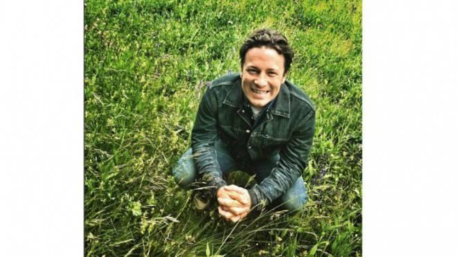 Glücklich im Grünen: Jamie Oliver postete im Mai ein Foto von sich auf einer Weide in Graubünden. Er lernte, Käse herzustellen. Foto: Instagram