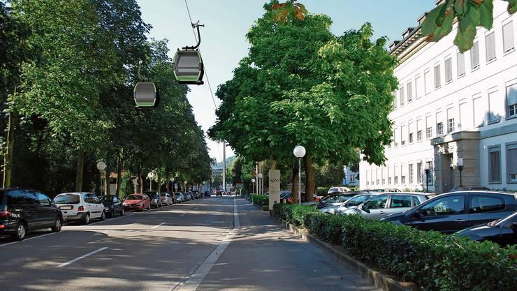 Eine Gondelbahn soll das Badener Bahnhofareal mit dem Bäderquartier verbinden.