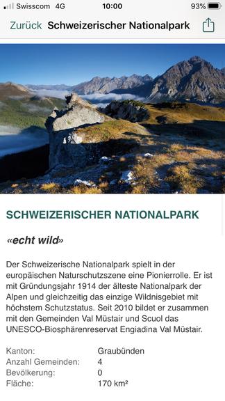 Die App bietet Informationen über die Schweizer Pärke.