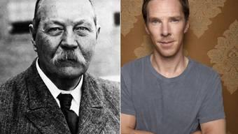 """Sir Arthur Conan Doyle (l), der Verfasser der """"Sherlock Holmes""""-Geschichten ist  mit """"Sherlock Holmes""""-Darsteller Benedict Cumberbatch (r) verwandt: Sie sind Cousins 16. Grades. (Archivbilder)"""