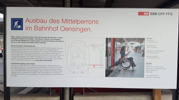 Ausbau des Mittelperrons im Bahnhof