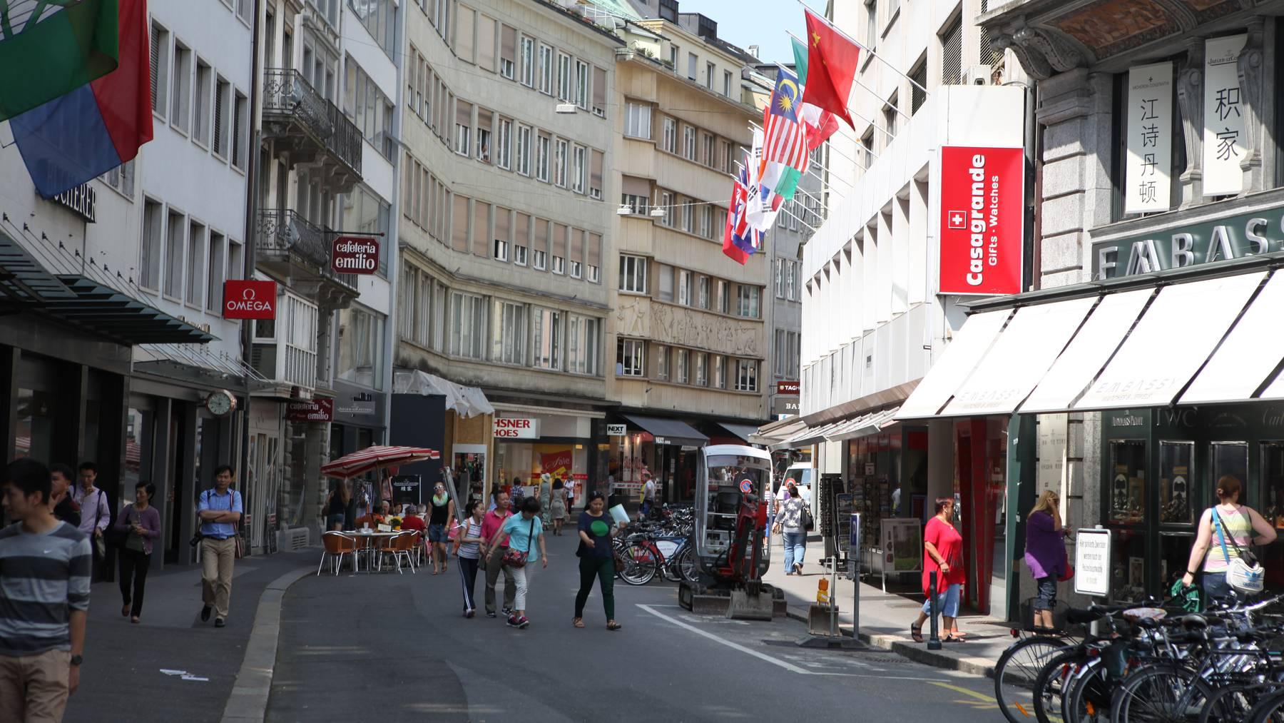 Blick vom Schwanenplatz Richtung Grendel in der Stadt Luzern.