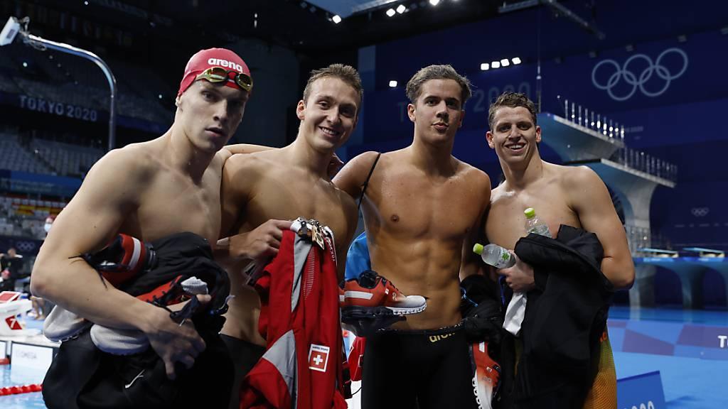 Vier der jungen wilden Schweizer Schwimmer, die vor sechs Jahren in Genf mit im Schnitt 15 Jahren ihr Olympia-Projekt gestartet haben