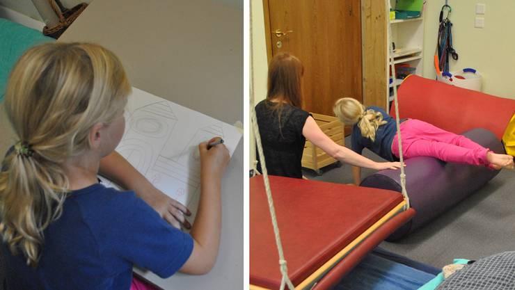 Ein Mädchen und seine Ergotherapeutin während einer Therapiestunde – Feinmotorik beim Zeichnen (links) und Bewegungskoordination.