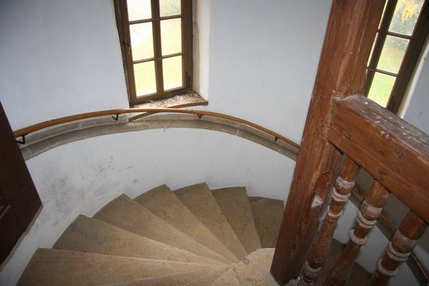 Die Wendeltreppe von oben.