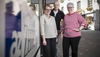 Die Redaktion in Brugg (v.l.): Ressortleiterin Claudia Meier mit den Redaktoren Michael Hunziker und Elisabeth Feller.