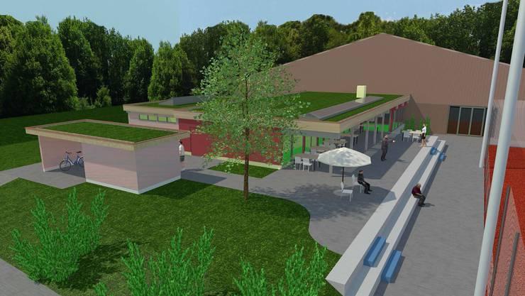 Visualisierung des neuen Clubhauses des TC Rheinfelden, im Hintergrund die bestehende Tennishalle.