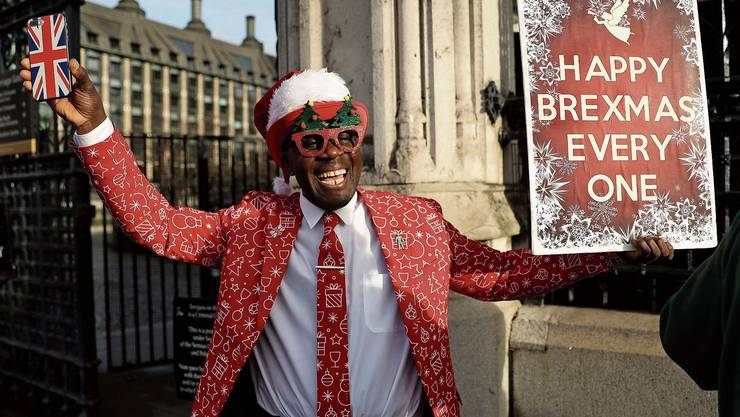 Politische Weihnachtsgrüsse: Brexit-Unterstützer Joseph Afrane freut sich, dass es vorwärtsgeht.