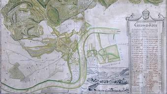 Der historisch wertvolle Hienerwadel-Plan von 1780 über die Waldstadt Säckingen wird im Museum Schiff gezeigt. rka