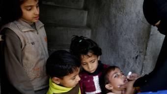 Kinder in Pakistan werden gegen Kinderlähmung geimpft (Symbolbild)